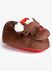 Christmas Brown Reindeer Slippers (6 Infant - 4 Child)