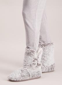 Grey Faux Fur Slipper Boots