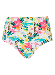 Multicoloured Retro High Waist Bikini Briefs