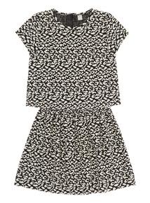 Girls Black Jacquard Animal Top and Skirt Set (3 - 12 years)