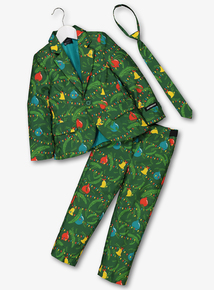 Green Christmas Tree Print Suit & Tie (4-16 Years)
