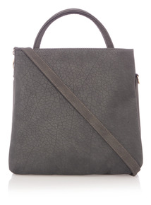 Grey Textured Cross Body Bag