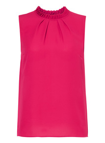 Pink Sleeveless High Neck Blouse