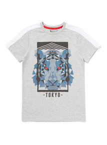 Grey Geometric Tiger Print T-Shirt (3-14 years)