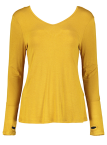 Yellow Cut-out Back Detail Active Top