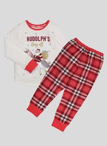 Christmas Multicoloured Unicorn Santa Pyjamas (2-12 years)