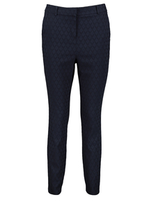 Navy Geometric Tailored Trousers