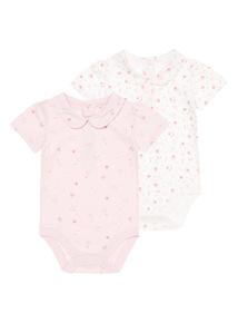 Girls Pink Print Bodysuit 2 Pack (0 - 12 Months)