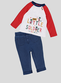 Multicoloured Little Soldier Top & Jean Set (0-24 Months)
