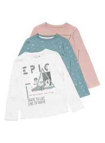 3 Pack Multicoloured Epic Skate Long Sleeve Tops (3-14 years)
