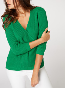 Knitted Wrap Front Jumper