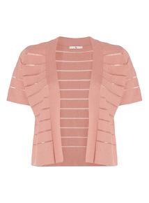 Coral Mesh Stripe Cropped Cardigan