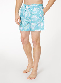 Turquoise Leaf Print Board Shorts