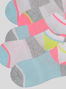 Multicoloured Neon Trainer Socks (3 infant -5.5 adult)