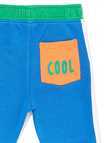 Blue 'Cool' Pocket Print Jogging Bottoms (3-14 years)