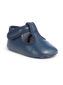 Navy T-bar Shoes (0-24 months)