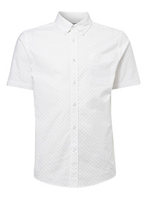 Cream Slim Fit Oxford Print Shirt With Stretch