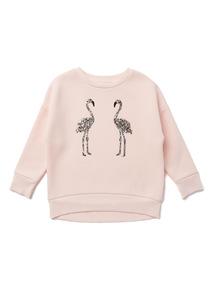 Pink Glitter Flamingo Sweatshirt (3-14 years)