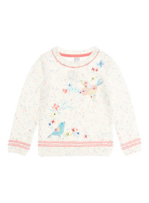 Girls Multicoloured Bird Embroidered Jumper (9 months-6 years)
