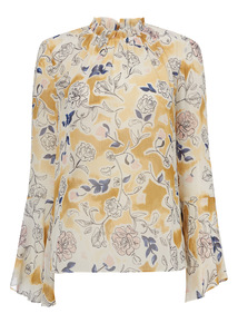 Floral Pattern High Neck Blouse