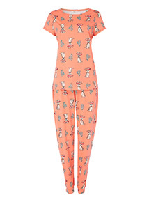 Orange Dog and Sombrero Print Pyjamas