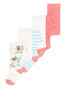 Girls Multicoloured Patterned Tights 3 Pack (0-24 months)