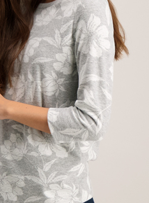 Grey Floral Jacquard Top