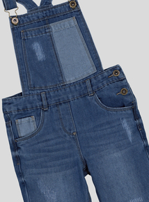 Blue Denim Contrast Pocket Dungarees (3-14 years)