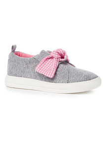 Grey Bow Detail Skater Shoes