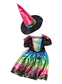 Green Ombre Halloween Witch Dress with Hat Outfit (3-12 years)