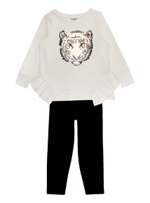 Cream Tiger Sequin Jumper With Leggings (3-14 years)