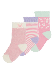 Girls Pink Cat Terry Socks