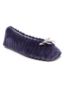 Velour Textured Ballerina Slippers