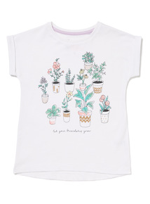 White Botanical Print Short-Sleeved Tee (3-14 years)