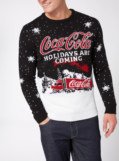 Mens Black Christmas Coca Cola Jumper Tu Clothing