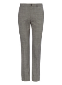 Grey Check Stretch Trousers