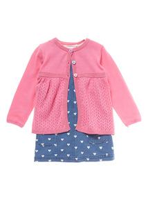 Girls Multicoloured Pinafore Dress 3 Piece Set (0-24 months)