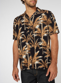 Black Palm Tree Print Relaxed Fit Shirt