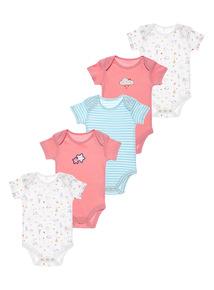 Pink 5Pack Crazy Cat Bodysuits (0-24 months)
