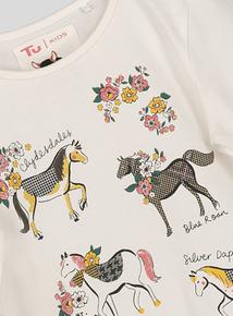 Cream Pony Print Long Sleeve T-Shirt (3-14 years)