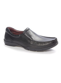 Black Leather Casual Slip On