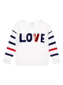 Girls White Love Jumper (3 years - 12 years)