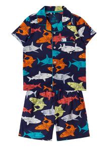 Multicoloured Shark Woven PJs (1 - 12 years)