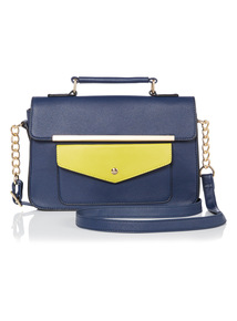 Navy Colour Block Cross Body Bag