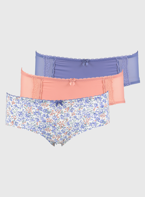 Womens Pink Blue Ditsy Floral Plain Knicker 3 Pack Tu Clothing