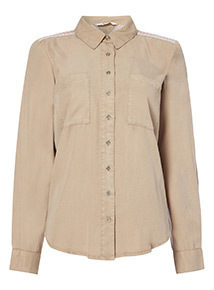 Khaki Embellished Shirt