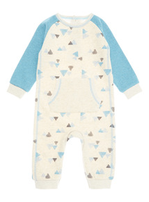 Blue Geometric Print Cosy Lined Romper (0-24 months)