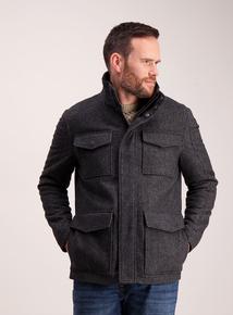 Grey Wool Blend Four Pocket Jacket
