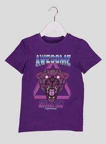 Purple Panther Motif Short-Sleeved T-Shirt (3-14 Years)