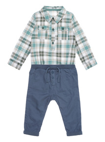 Multicoloured Check Bodysuit And Trousers Set (0-24 months)